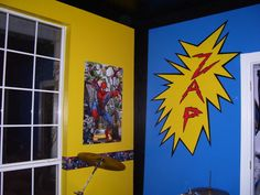 Comic Book Super Hero Bedroom, Boys room with a bright bold high contrast comic book theme. Larger pictures can be seen on my blog at www.dailydelilah.com, Boys Rooms Design
