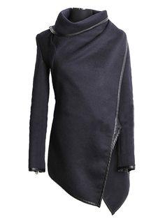 Asymmetria Layered Coat with Zipper Detail  c0260111db24a