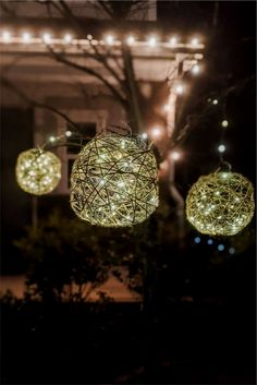 Learn how to make light balls that you can hang from your trees with this simple, step-by-step tutorial. #diy #outdoorlights Potted Christmas Trees, Christmas Light Displays, Christmas Lights, Christmas Yard, Backyard Lighting, Outdoor Lighting, Lighting Ideas, Outdoor Crafts, Outdoor Ideas
