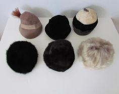 Lot of 6 Vintage Hats 40s-60s MOD White Mink Black Mink Wool Designer #VariousVintage