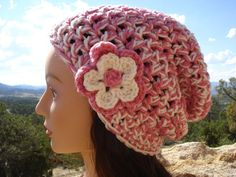 Chemo Cap Ladies Pink White Crocheted Chunky by RockvaleMountain, $13.00