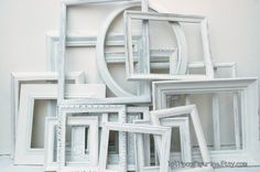 White frame collection set of 20 white shabby chic frames great for wedding or home decor