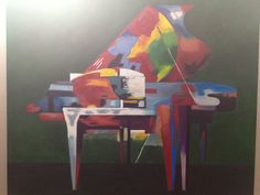 Colored abstract piano oil painting by Renato Radu