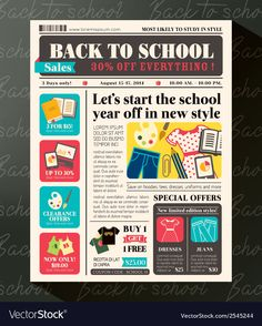 Back to School Sales Promotional Design Template in Newspaper Journal style Illustration , Newsletter Design Templates, Newsletter Layout, Sales Template, Email Newsletter Design, Templates Free, Minimal Web Design, App Design, News Design, Layout Design