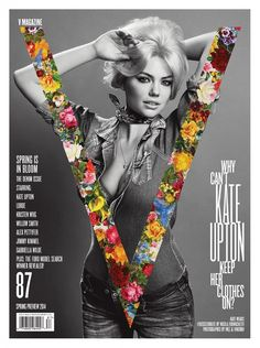 I like the use of black & white in the background with the vibrant colorful V (for V magazine) on top.