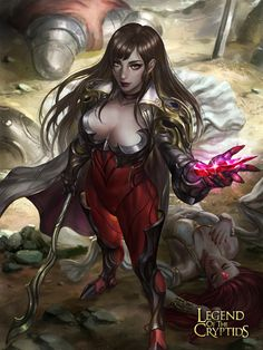 Artist: Soffanie Soffa aka manusia no 31 - Title: tactitian of the ruby staff reg - Card: Scalping Queen Eizan