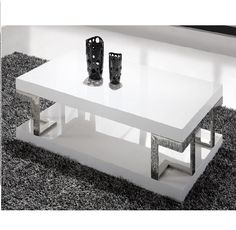 Hanvury White Hi Gloss Coffee Table With Chrome Design Living Room Furniture Sale, Contemporary Living Room Furniture, White Gloss Coffee Table, Salons Rectangulaires, Table Haute, Being A Landlord, Decoration, Modern Design, Chrome