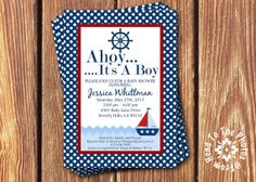 Baby Boy Sailboat Shower Invitations by FromHeadtoToeDesigns