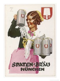 Brings Four Seidels of Frothy Spaten-Brau Giclee Print by Ludwig Hohlwein Waitress Brings Four Seidels of Frothy Spaten-Brau Giclee PrintWaitress Brings Four Seidels of Frothy Spaten-Brau Giclee Print Frames For Canvas Paintings, Canvas Frame, Vintage Art Prints, Vintage Posters, Wall Art Prints, Framed Prints, Canvas Prints, Beer Advertisement, Affordable Wall Art