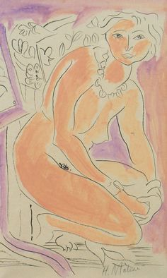 Henri Matisse, 1869-1954, Life study of kneeling woman, Signed ink and coloured washes, Laid down on hand made paper, 50 x 30 cm.