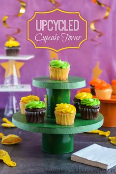 Upcycled cupcake tower craft tutorial explaining how to turn an empty diaper box, vegetable can, and Gerber snack food container into cute party decorations. #lifeforless #PMedia #ad @ALL YOU Magazine