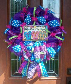 Summer Flip Flop Mesh Wreath by JenniferzWreaths on Etsy