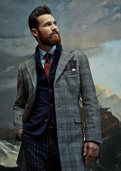 ♂ Masculine and elegance man's fashion photography with oil painting background gentleman style suit.