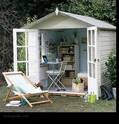 Artist's studio in the backyard shed.