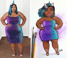 Artist Turned Photos of Plus-Sized Women Into Art And Its Enchanting - bemethis Fat Black Girls, Black Girl Art, Black Women Art, Art Girl, Plus Size Art, Plus Size Women, Estilo Goth Pastel, Bikini, Drawings Of Black Girls