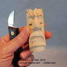 Learn the fun hobby of wood carving with this free beginner's wood carving project for a Tiki Chess Set which includes free wood carving patterns by Lora S. Irish