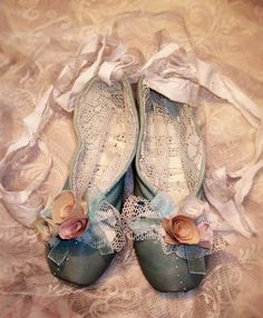 Altered vintage ballet shoes pointe shoes by ButterfleaMarket