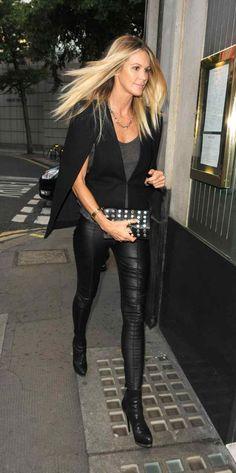 Elle MacPherson in leather pants