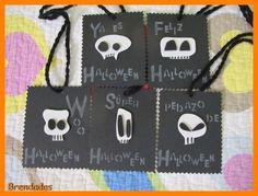 Tarjetas de calaveras para regalitos de Halloween o montar la decoración