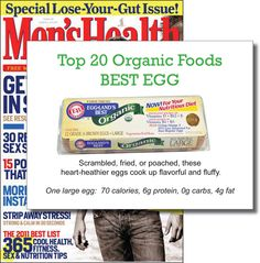 Men's Health Top 20 Organic Foods - Best Egg 2010 #egglansbest