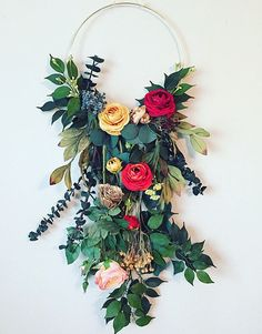 The gorgeous floral wall hanging makes me feel like im in an enchanted garden when im flowers dream catcher, the 25 best dream catcher extensions Hanging Flower Wall, Flower Wall Decor, Diy Hanging, Wreath Crafts, Flower Crafts, Diy Crafts, Boho Nursery, Nursery Decor, Woodland Nursery
