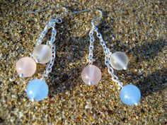TAKI -Waterfall Silver Chain Earring with Rose Quartz, Frosted Quartz Crystal and Aquamarine
