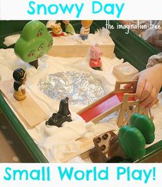 brilliant idea using shaving foam and small world items could be done on a tuff spot to icrease area of play for a nursery or reception class. check this site out :The Imagination Tree: Small World Play: The Park in the Snow! Sensory Boxes, Sensory Play, Sensory Table, Sensory Activities, Christmas Activities For Kids, Winter Activities, Christmas Ideas, Holiday Ideas, Christmas Crafts