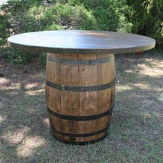 Wine Barrel Table This Will Go On Our New Deck
