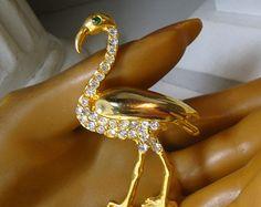 Rhinestone Flamingo Pin,  Glam Florida Tourist Bird Brooch, 1980s, Goldtone Shiny Metal, GROK Grok