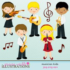 This Musician Kids clipart set comes with 8 graphics including: a girl playing a viola or violin, a boy playing a guitar, a boy with a trumpet, a boy with a saxaphone, a girl playing a clarinet and three music notes.