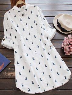 GET $50 NOW   Join Zaful: Get YOUR $50 NOW!http://m.zaful.com/rabbit-print-long-sleeve-shift-shirt-dress-p_234305.html?seid=r18n6oerrcidlf3hi3tst11os2zf234305
