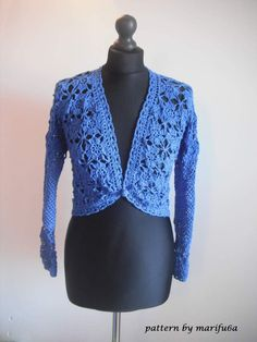 "Crochet pattern ""elegant blue jacket bolero"" by marifu6aSkill Level: Intermediate.Size: S-M- L"
