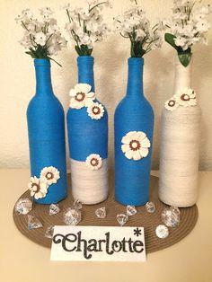 Wine Bottle Decor 'CHARLOTTE' Bottles Blue & by KSparklesByKrysten