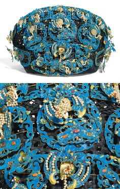 China | Embellished Kingfisher feather headdress; the black silk-woven framework ornately adorned with phoenixes, bats, lingzhi, chime stone and wan symbols en tremblant amongst stylised clouds and foliate borders, embellished with pearls, coral, jadeite, glass and other semiprecious stones, stabilised with metal wires. | ca. 19th century, Qing Dynasty | 11'875£ ~ sold (May '13)