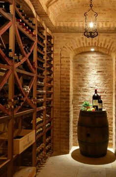 Bright Wine Barrel Furniture convention Other Metro Mediterranean Wine Cellar Inspiration with barrel barrel ceiling brick arch brick wall farmhouse Italian design Italian style Italian villa #WineCellar