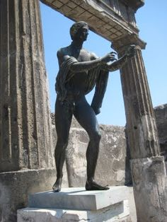 The Statue of Apollo in The Temple of Apollo, Pompeii, Italy