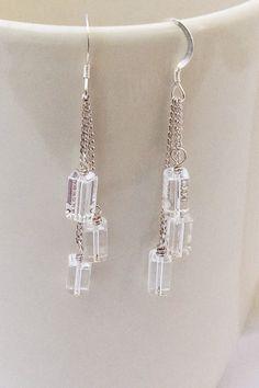 Chandelier Sterling Silver Earrings, Dangle Earrings by AustinDowntoEarth on Etsy Beaded Earrings, Earrings Handmade, Beaded Jewelry, Handmade Jewelry, Crystal Earrings, Jewelry Knots, Funky Jewelry, Jewelry Crafts, Sterling Silver Earrings