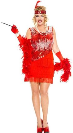 61824898bffff Women s Plus Size Red Fearless Flapper Costume