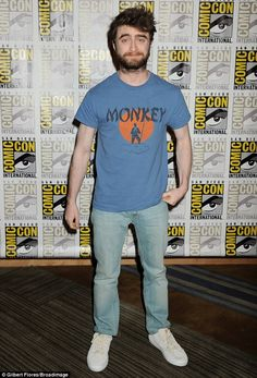 Beardy man:Daniel Radcliffe was hard to miss as he joined the host of famous faces speaki...