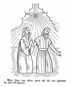John The Baptist Baptises Jesus Bible Coloring Pages