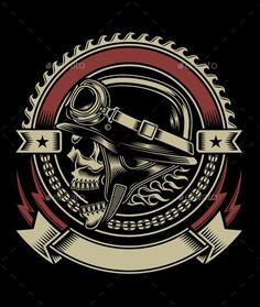 Vintage Biker Skull Emblem - Retro Technology