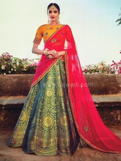 Unstitched Weaved Floor Length Wedding Lehenga Choli