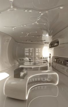 Eden Archives by Tarik Keskin, via Behance Futuristic Interior, Futuristic Architecture, Interior Architecture, Futuristic Lighting, Küchen Design, Store Design, House Design, Design Desk, Home Interior