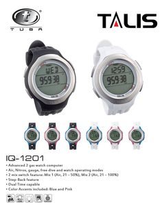 TUSA's innovations continue to expand with the new IQ-1201 TALIS, an advanced 2-gas watch computer. Highlights of the Talis include the new scroll back feature and the dual time display capability. Available in black or white, each unit also includes blue and pink side panel options, which allows users to personalize their computer. http://splashuwimaging.com/tusa-talis-dive-computer