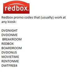 Red Box Codes for Chadleys movie night with Lauren