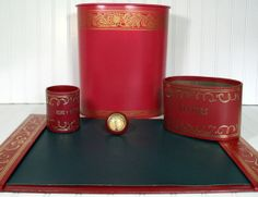 Complete Burgundy Red with Gold Tooling Desk Set - Vintage Library Office Accessories - 5 Piece Collection