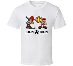 Get this White Balls And Dolls Coed Baseball Team Sports T Shirts T Shirt today which is available on a Cotton shirt. This shirt will make a great gift and be talked about for some time. Sport T Shirt, Shirt Style, Balls, Baseball, Hoodies, Sports, Mens Tops, Baseball Promposals, Hs Sports
