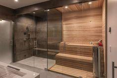 Home Spa Room, Spa Rooms, Sauna Steam Room, Sauna Room, Bad Inspiration, Bathroom Inspiration, Basement Sauna, Modern Saunas, Sauna Shower