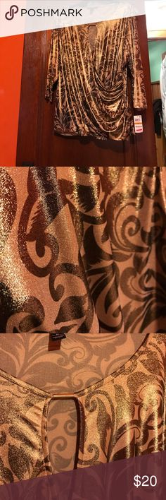 Brand New Gold and Brown Shimmer wrap Blouse.. Beautiful Brand New Gold and Brown Shimmer Blouse.. Purchased at Macy's.. Non Smoking Home INC International Concepts Tops Blouses