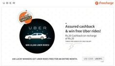 Freecharge assured 100% cashback and win Free Uber Ride